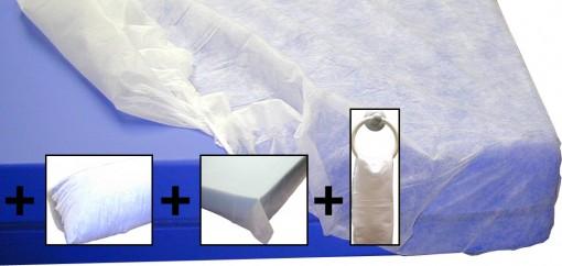 sabana-desechable-ajustable-90-mas-funda-almohada-mas-sabana-encimera-mas-toalla-albergue-campings-campamento-tejido-sin-tejer-blanca-gomas-un-solo-uso-higienica-set